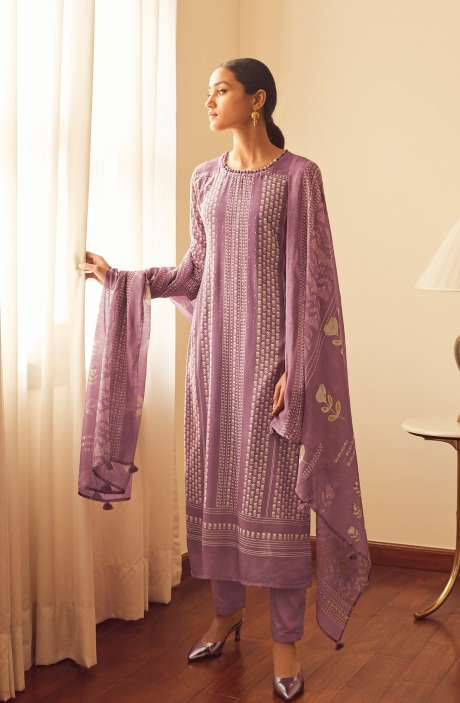 Modal Cotton Digital Printed Suit-sets In Mauve - EVO5787