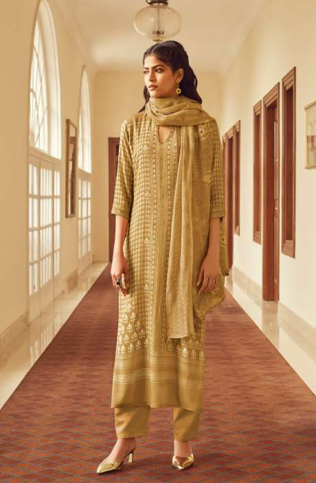 Modal Cotton Digital Printed Suit-sets In Mustard - EVO5788