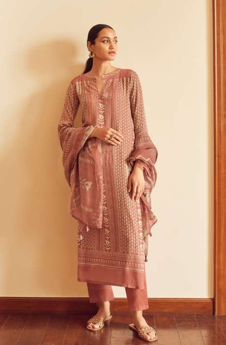 Modal Cotton Digital Printed Suit-sets In Peach - EVO5789