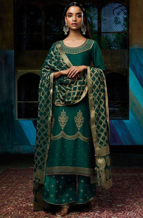 Designer Cotton Silk Bottle Green Salwar Suit with Georgette Dupatta - EZA7138R