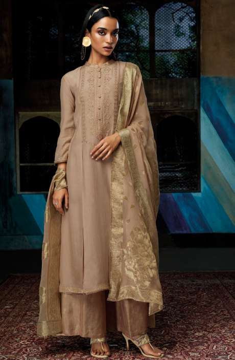 Designer Cotton Silk Beige Salwar Suit with Georgette Dupatta - EZA7139R