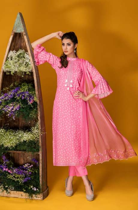 Tacfab Exclusive Printed Cotton Pink Salwar Kameez with Lace Border - FAI2120R