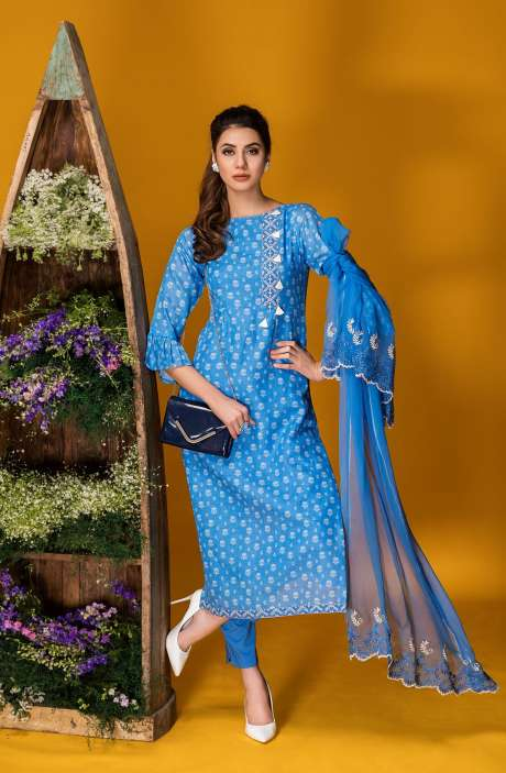 Tacfab Exclusive Printed Cotton Trendy Blue Salwar Kameez with Lace Border - FAI2121R