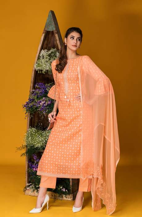 Tacfab Exclusive Printed Cotton Designer Orange Salwar Kameez with Lace Border - FAI2122R