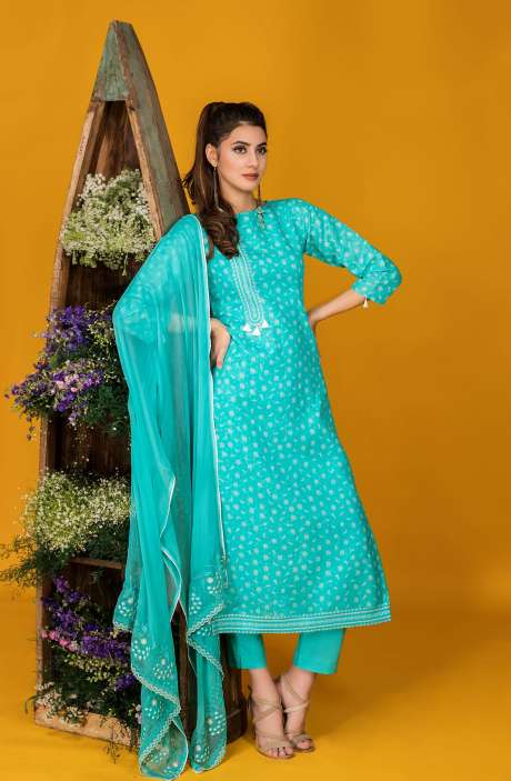 Tacfab Exclusive Printed Cotton Turquoise Blue Salwar Kameez with Lace Border - FAI2123
