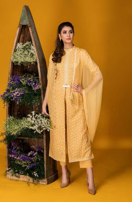 Tacfab Exclusive Printed Cotton Yellow Salwar Kameez with Lace Border - FAI2124R