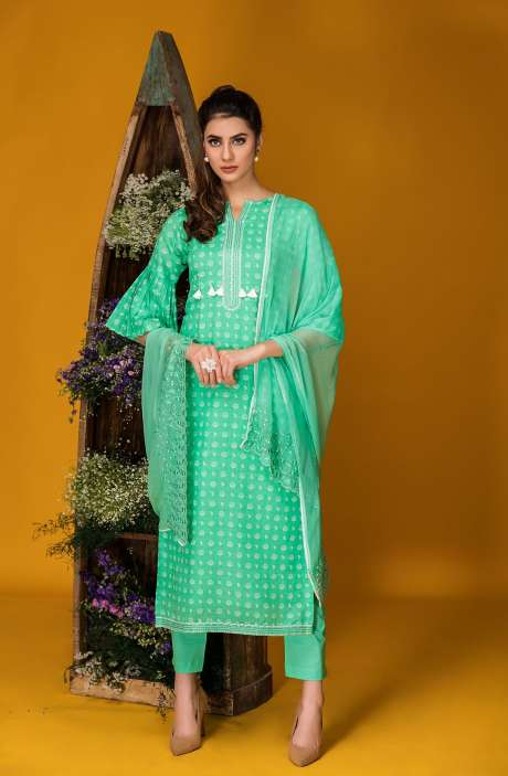 Tacfab Exclusive Printed Cotton Stylish Green Salwar Kameez with Lace Border - FAI2125