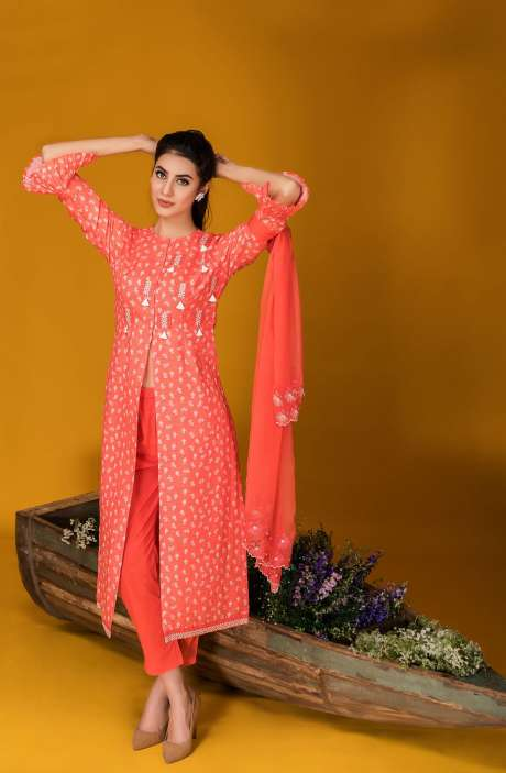 Tacfab Exclusive Printed Cotton Adorable Carrot Red Salwar Kameez with Lace Border - FAI2126R