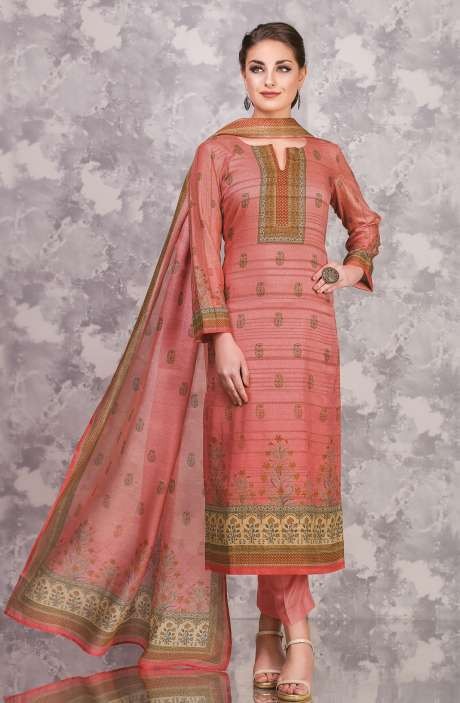 Cotton and Satin Silk Imperial Digital Print Peach Salwar Suit - FAI596