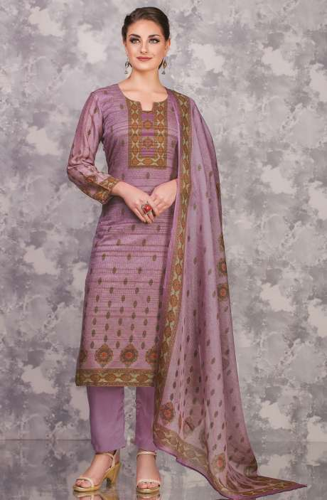 Cotton and Satin Silk Imperial Digital Print Salwar Suit In Purple - FAI598