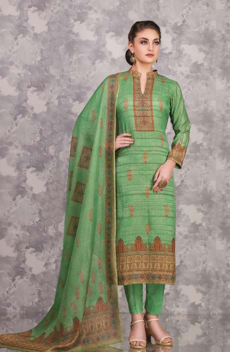 Cotton and Satin Silk Imperial Digital Print Salwar Kameez In Green - FAI599