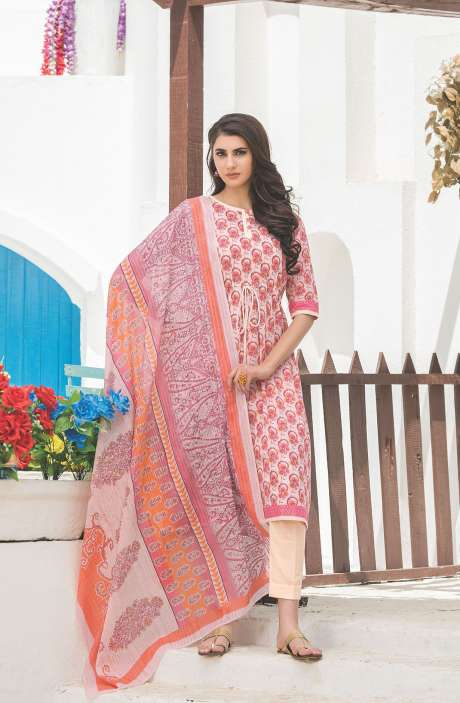 Floral Printed Cotton White and Pink Salwar Kameez - FAJ466B