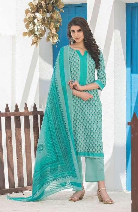 Floral Printed Cotton Mint Green Salwar Kameez - FAJ468B