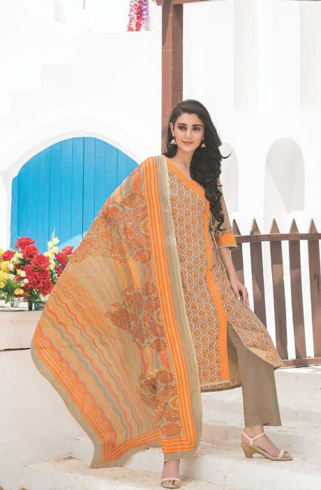 Floral Printed Cotton Beige and Mustard Salwar Kameez - FAJ470A