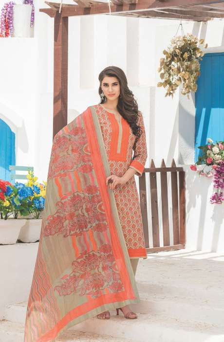 Floral Printed Cotton Beige and Orange Salwar Kameez - FAJ470B