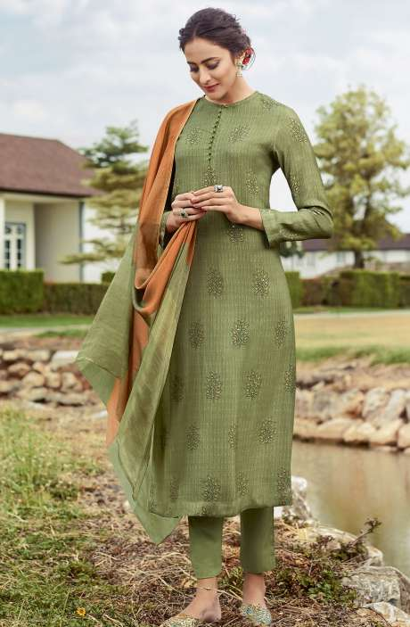 Pashmina Digital Printed Unstitched Green Salwar Kameez - FAN835