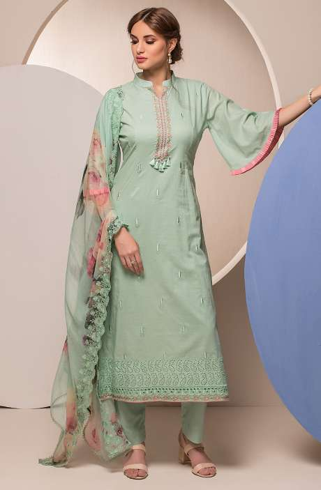 Cotton Embroidered Unstitched Salwar Kameez In Turquoise Green - FAR2620
