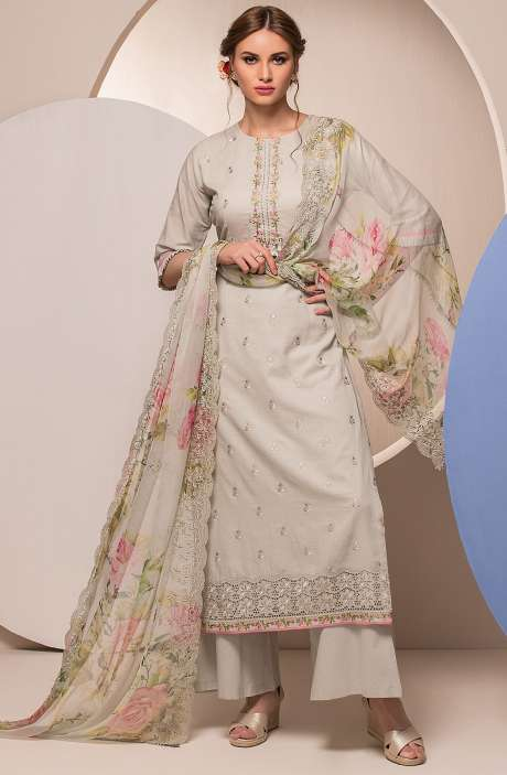 Modal Cotton Embroidered Unstitched Salwar Suit In Grey - FAR2621R