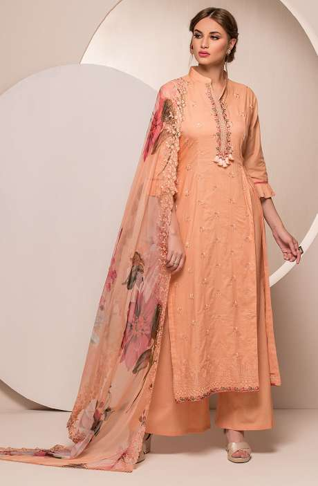 Cotton Embroidered Unstitched Salwar Kameez In Peach - FAR2622
