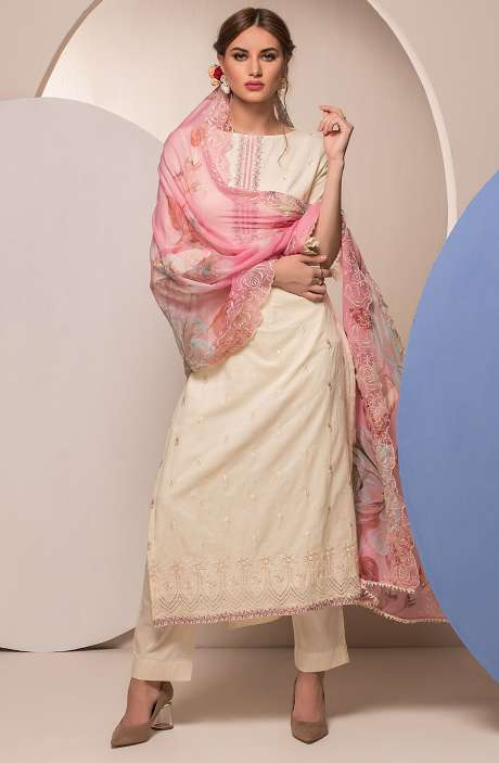 Cotton Embroidered Unstitched Salwar Kameez In Cream - FAR2623