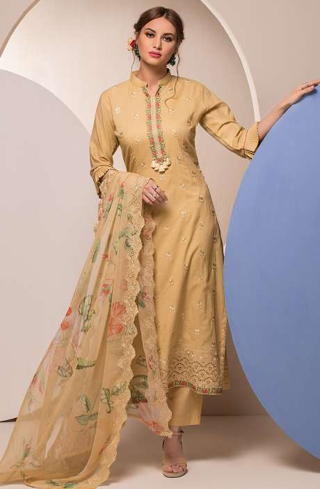 Cotton Embroidered Unstitched Salwar Kameez In Mustard - FAR2624
