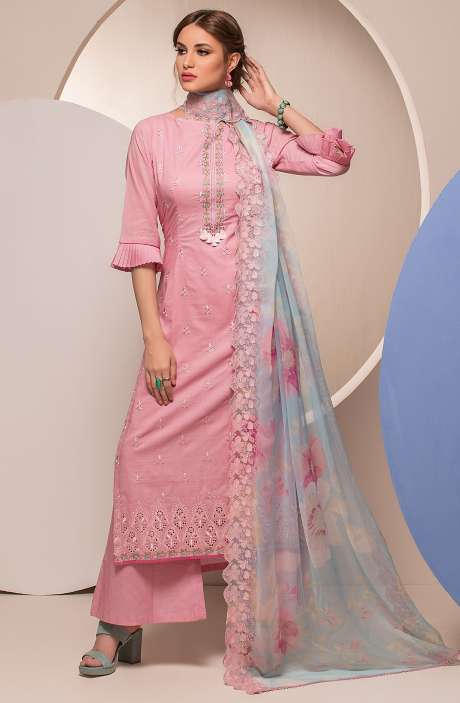 Cotton Beautiful Embroidered Salwar Kameez Sets In Baby Pink - FARI2625
