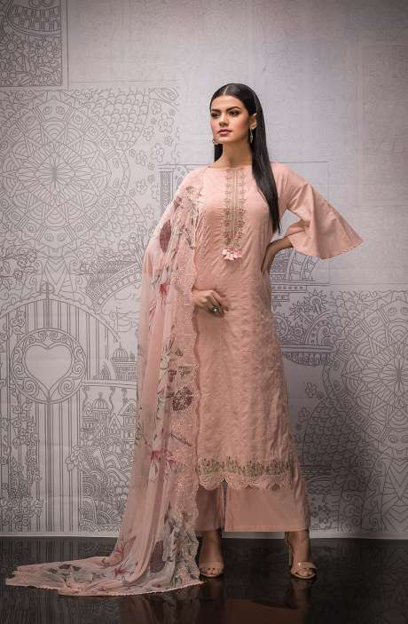 Cotton Exclusive Beautiful Schiffli Embroidered Salwar Suit In Peach with Pure Chiffon Dupatta - FAR5271