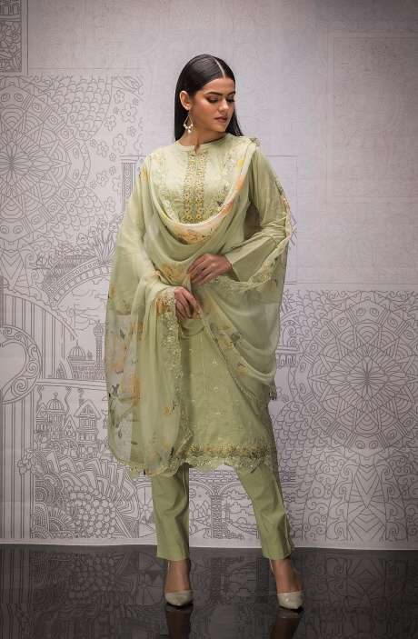 Cotton Exclusive Beautiful Schiffli Embroidered Salwar Suit In Mehndi with Pure Chiffon Dupatta - FAR5276