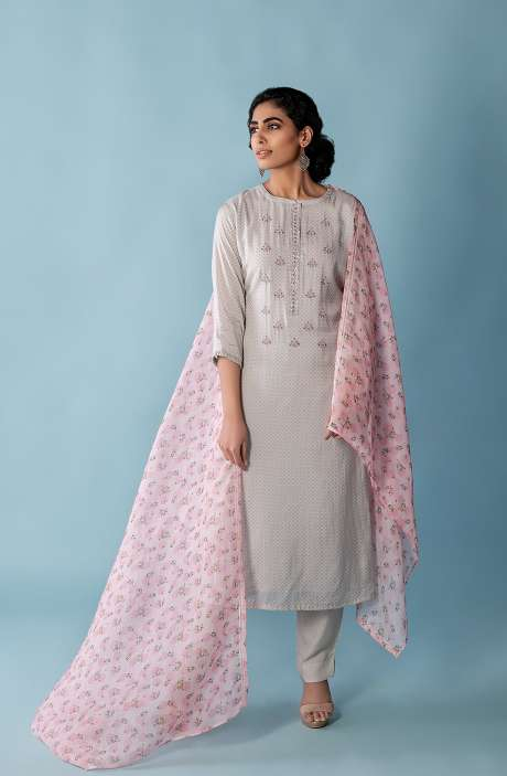 Exclusive Muslin Silk Semi-stitched Suit-sets In Grey with Organza Dupatta - FAR8506