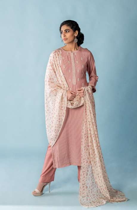 Exclusive Muslin Silk Semi-stitched Suit-sets In Pink with Organza Dupatta - FAR8507