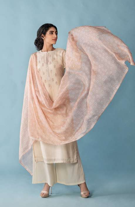Exclusive Muslin Silk Semi-stitched Suit-sets In Cream with Organza Dupatta - FAR8508