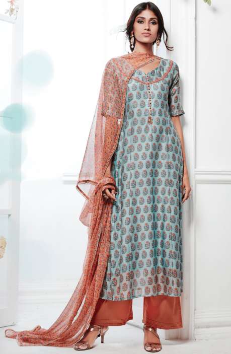Kora Silk and Cotton Satin Bluish Grey and Peach Printed Salwar Kameez with Embellishments - FAS4922