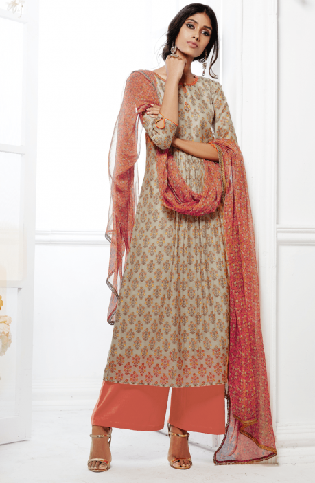 Beige and Rust Printed Kora Silk and Cotton Satin Salwar Suit with Embellishments - FAS4923