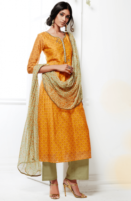 Mustard and Pista Green Printed Kora Silk and Cotton Satin Salwar Kameez with Embellishments - FAS4924