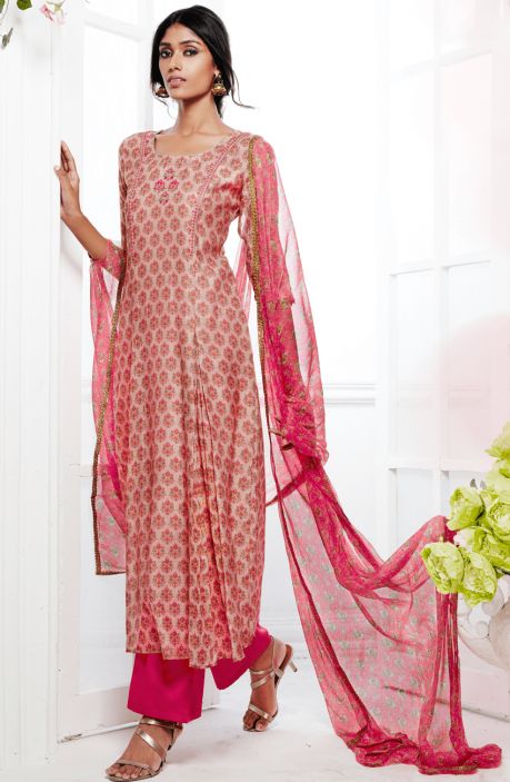 Designer Printed Peach and Pink Kora Silk and Cotton Satin Salwar Suit with Embellishments - FAS4925
