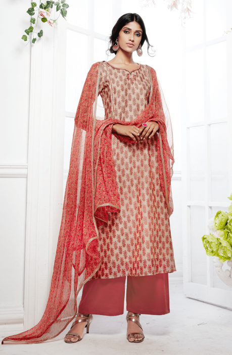 Trendy Printed Peach and Pink Kora Silk and Cotton Satin Salwar Kameez with Embellishments - FAS4926