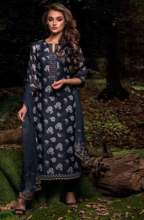 Festive Special Digital Floral Print Chanderi Salwar Kameez with Embroidery In Brown and Multi-coloured - FAU2462