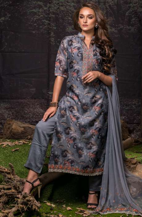 Festive Special Digital Floral Print Chanderi Salwar Kameez with Embroidery In Grey and Multi-coloured - FAU2463