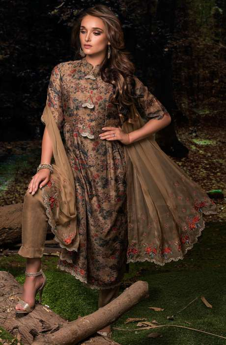 Festive Special Digital Floral Print Chanderi Salwar Kameez with Embroidery In Mehndi and Multi-coloured - FAU2464