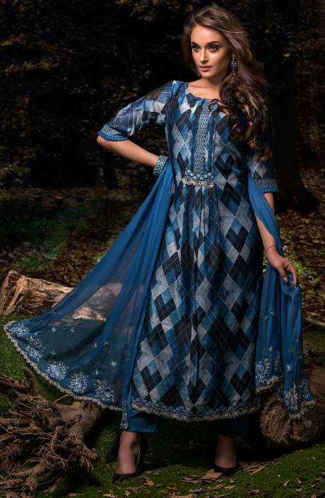 Festive Special Digital Floral Print Chanderi Salwar Kameez with Embroidery In Multi-coloured and Blue - FAU2465