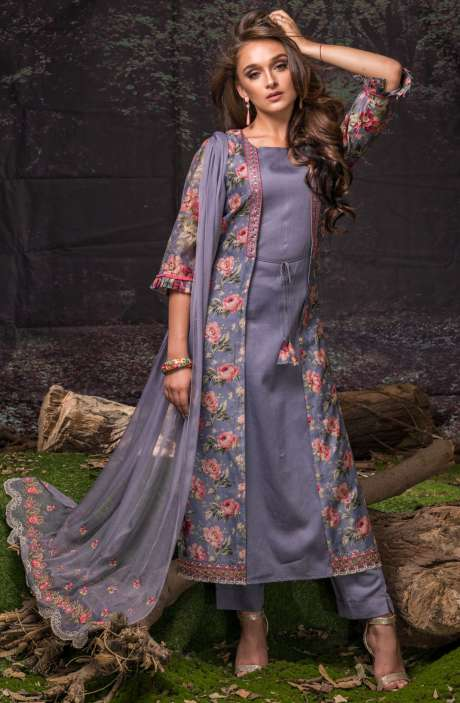 Festive Special Digital Floral Print Chanderi Salwar Suit with Embroidery In Grey and Multi-coloured - FAU2466