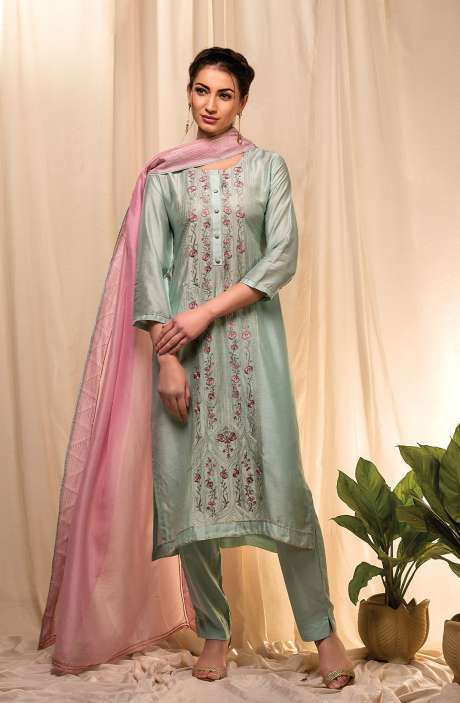 Semi-stitched Exclusive Modal Cotton Trendy Suit Set In Sea Green - FAY8618