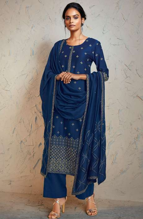 Kora Silk Stylish Salwar Suit Sets In Blue - FEN0021