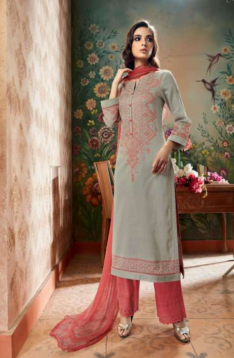 Cotton Abstract Printed Ready to Stitch Grey Peach Salwar Kameez - FER01