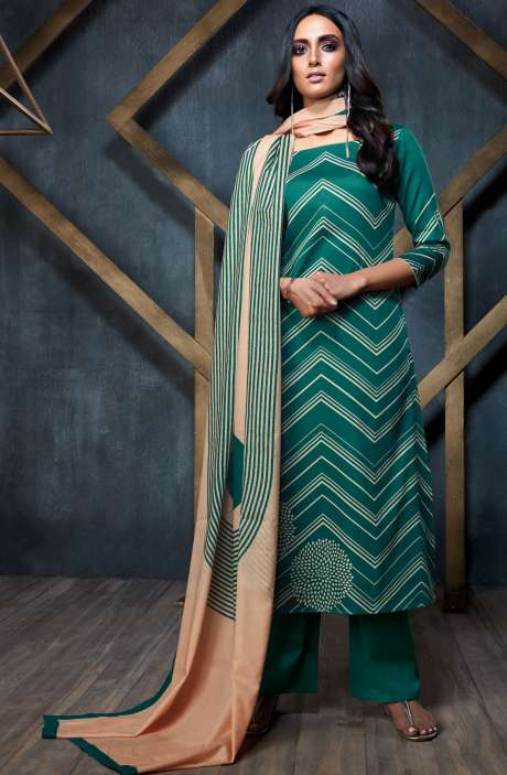 Designer Semi-Stitched Cotton Digital Printed Bottle Green Salwar Suit Sets - FIN6323-R