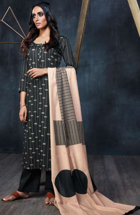Designer Semi-Stitched Cotton Digital Printed Black Salwar Suit Sets - FIN6324-R