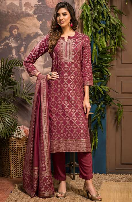 Spun Winter Wear Unstitched Zari Weaving Salwar Suit Sets In Pink - FIZ4070
