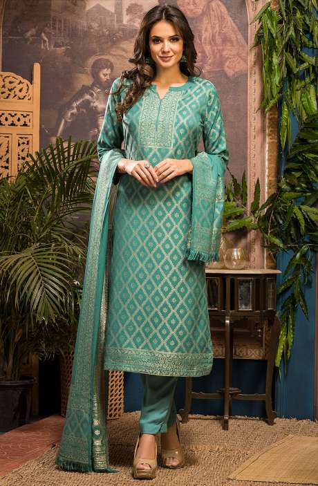 Spun Winter Wear Unstitched Zari Weaving Salwar Suit Sets In Green - FIZ4073