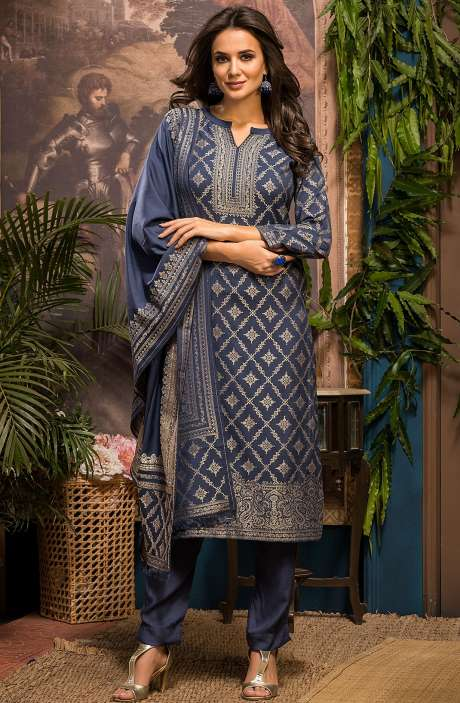 Spun Winter Wear Unstitched Weaving Salwar Suit Sets In Grey - FIZ4075