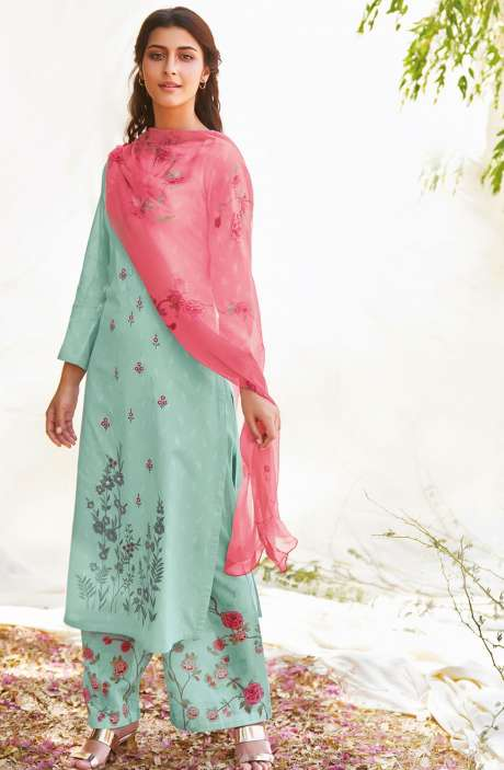 Casual Cotton Jacquard Ready-to-Stitch Salwar Kameez In Sea Green - FLE906